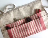 linen utility apron / gardening apron / half apron / waitress apron /teachers apron / monogrammed gift
