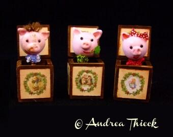 Miniature Jack in the Box - Piggie - OOAK - Choose one