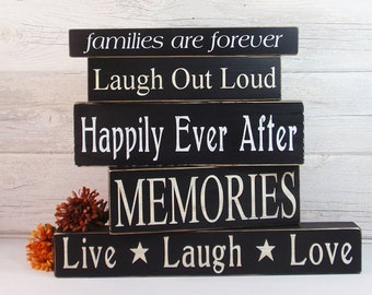 Choose Any 1 Block- Hand Painted Wooden- Country Decor-Wooden Block-Quotes- Vintage Style- Distressed- Home Decor
