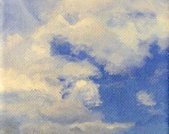 """Palava Cloudscape_ 4"""" x 12"""" x 1 1/2"""" Acrylic Painting on Gallery Wrapped Canvas"""