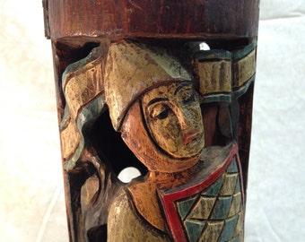 Decanter Carved Wood Alcohol Bottle Box Renaissance Decorative AntikaGarage