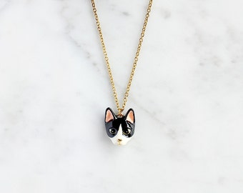 Keaw Cat Necklace, Black and white cat