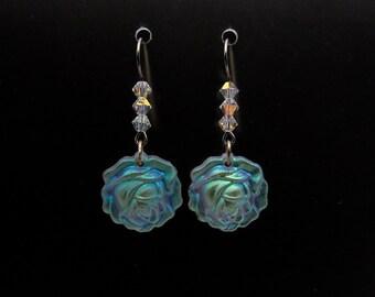 Swarovski Crystal Flower Earrings,Crystal Rose Earrings,Roses,Flowers
