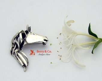 Brooch Pendant Sterling Silver Horse Head Pin