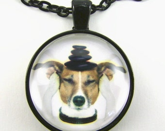 MEDITATION JACK Necklace  Zen dog Jack Russell Terrier meditates with stones on his head He is at one with the universe Tranquility