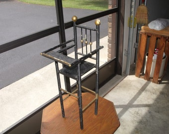 """antique wood doll highchair, black and gold.  clearly some wear and tear.  23"""" high, 6"""" wide, 6"""" deep."""