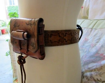 Vintage Tooled Leather Belt And Tooled Leather Belt Pouch. Sale Was 80.00