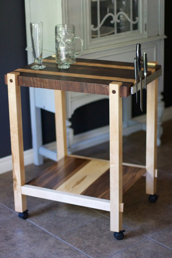 items similar to butcher block rolling island cart on etsy. Black Bedroom Furniture Sets. Home Design Ideas