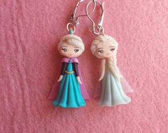 Earrings Elsa frozen in fimo, polymer clay