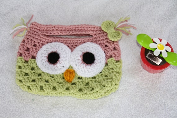 Crochet Purse For Child : Crochet Owl purse. Mini Owl purse. Child size Owl purse. Handmade to ...