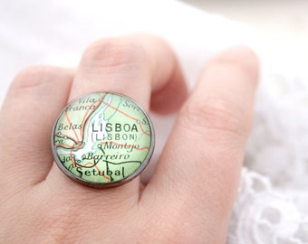 Custom Map Statement Ring Personalized Gunmetal Black Ring Choose the place on Map Personalized Jewelry Made to order from Vintage Map