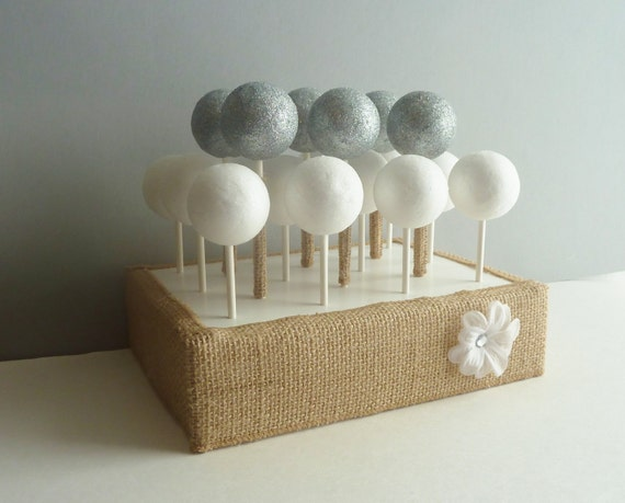 Rustic Woodland Burlap Wedding Cake Pop Stand Display Holder