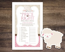 Instant Download Little Lamb Baby Shower The Price Is Right Game Cards, Printable Party Sheets for Girl, Pink Brown Chevron Sheep #39A