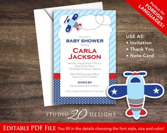 Instant Download Blue Airplane Birthday Invitations Editable Pdf, DIY 4x6 Printable Aviation Baby Shower Invitation, AUTOFILL enabled #37A