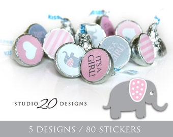 Instant Download Pink Elephant Hershey Kiss Stickers, Pink Baby Shower Kiss Labels, Printable Party Candy Sticker Sheets #22B