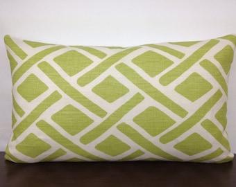 SALE 15% OFF Sage Green, White Linen  12x20 Lumbar Kravet Treads Fabric  Decorative, Designer Throw Pillow Cover