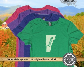 Vermont Home. shirt- Womens Red Green Royal Pink Purple