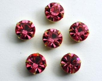 4 Swarovski Stones in Raw Brass 4 Prong Settings | Rose 47 ss Crystals | Pink Swarovski Crystals | 11 mm Crystals