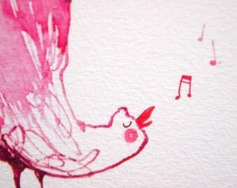 Giclee Print of Pink Singing Bird A4