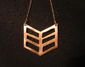 Hand Cut Chevron Tribal Silhouette Cutout Necklace Sterling Silver Copper Rose Gold