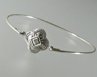 Silver Medallion Bangle Bracelet, Silver Bangle Bracelet, Silver Bracelet (188S,)