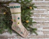 Custom Made, Personalized Classic Christmas Stockings with sparkle appliques, vintage lace or wool blend felt. (Lined with loop for hanging)
