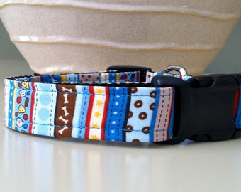 Dog Collar- Blue and Brown Dog