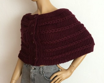 Cape Poncho, Shawl, Chunky Cable Knit Scarf, Convertible Scarf