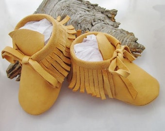 Leather Fringed Baby Moccasins and Soft Soled Infant Shoes