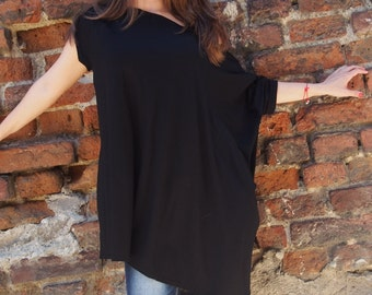 Asymmetric Over-Sized Tunic Long Tunic Short Sleeve Jersey Tunic Top Long Blouse & Nara TT026