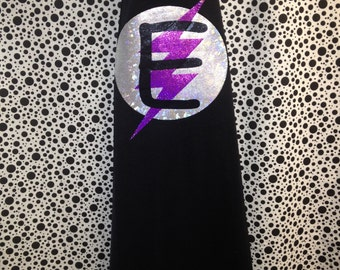 Black and Purple Lightning Super Hero Cape