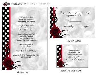 Rockabilly Roses Goth Wedding invitation set printable