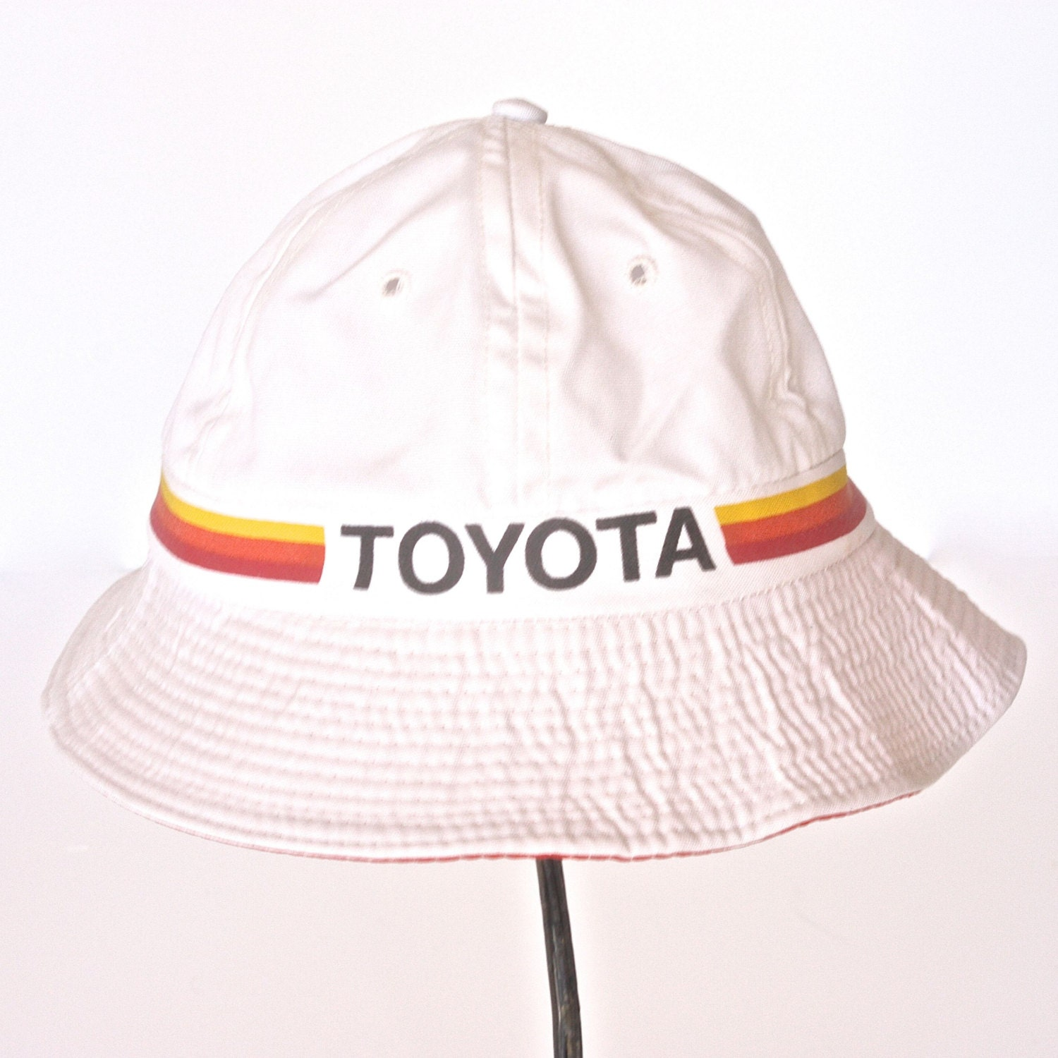 Vintage Toyota Bucket Hat – Gilligan Hat – Vintage Industrial – White with  Yellow Orange Red Stripes 4a8a68bf0d6