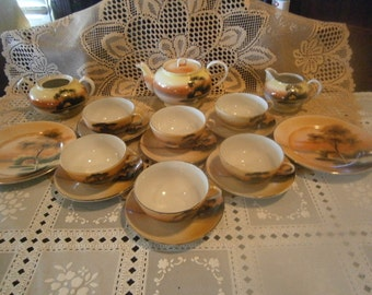 Nippon 17 Pc. Tea Set, Good for Movie/TV Sets, Hand Painted, Noritake, Made in Japan,