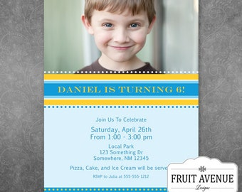 Yellow and Blue Boys Birthday Party Invitation with Photo - Printable