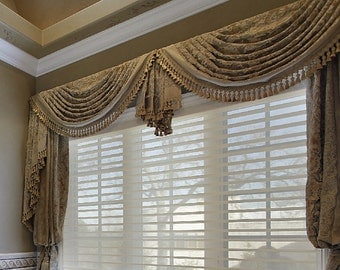 Custom made traditional swag valance  made to measure your choice of fabrics!