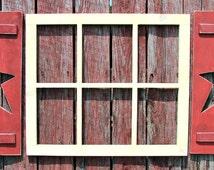 "Hand made 6 pane  window frame 24"" tall X 27"" wide pine"