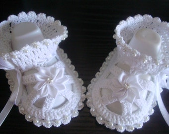 Hand Crocheted Baby Booties.Knit Crochet Baptism Booties-Sandals.Christening baby booties,white crocheted summer booties