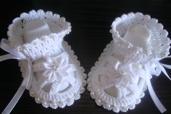 Hand Crocheted Baby Booties.Knit Crochet Baptism