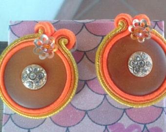 vintage buttons soutache fluorescent orange
