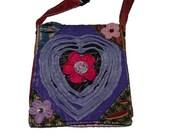 Colorful Floral Purse Messenger Sling Shoulder Bag Tie Dye Recycled Cotton