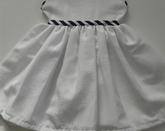 Pure White Crepe de Chine Baby Dress with Contrasting Piping [ Only 1 Left - Size 6 - 9mths }