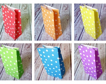 Party Favor Bags- Set of 12 RAINBOW Polka Dot Lunch Sack-Dotted Party Favor Bags-Wedding Gift Bag-Birthday Treat Bag-Rainbow Goodie Bag