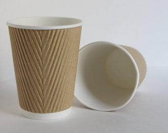 8 oz Natural Kraft Ripple Hot or Cold Cup Set of 50
