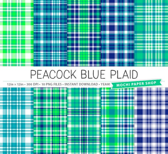 Blue & Green Plaid Digital Paper Peacock Blue Plaid Digital