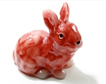 Beautiful hand made figural wax candle glossy light brown bunny rabbit