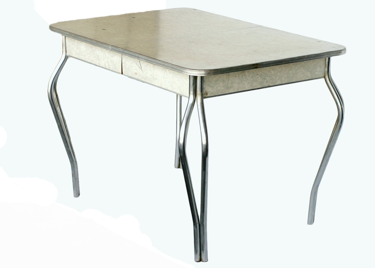mid century formica kitchen table with chrome legs