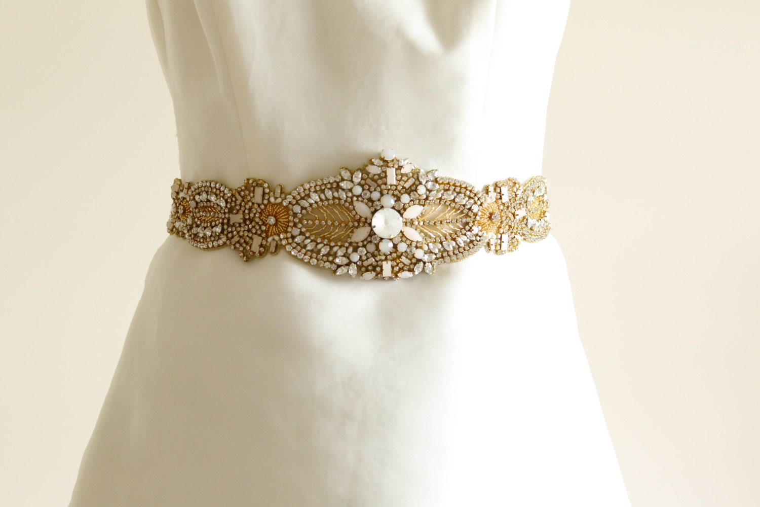 Bridal belt alba gold wedding sashes bridal sashes made to for Wedding dress belt sash