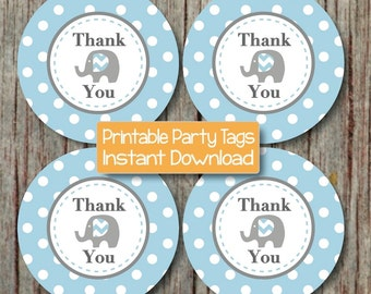 Thank You Favor Tags Elephant Printable Baby Shower Birthday Thank You Favors Powder Blue Grey Party Tags diy Thank You INSTANT DOWNLOAD 056