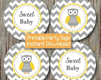 Cupcake Toppers Baby Shower Yellow Grey Owl diy Baby Shower Favor Tags Labels Stickers Printable Party Sweet Baby INSTANT DOWNLOAD 131